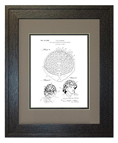 "Camouflaging Covering For Military Helmets Patent Art White Matte Print in a Rustic Oak Wood Frame with a Double Mat (11"" x 14"")"