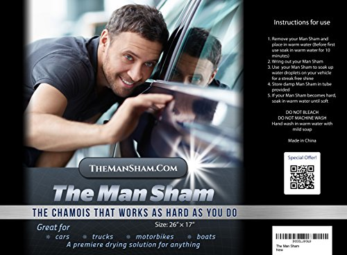 The Man Sham Chamois Cloth - Ultimate Towel for Fast Drying of Your Car or Truck - 1 Year Guarantee! Scratch and Lint Free Shine - Sure Fire Gift for Him - Top Notch Gifts for Dad, Boyfriend, Father or Any Other Special Men in Your Life chamois leather cleaning car towel