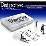"Distinctive 7-Piece Premium Sewing Foot Quilting Package - Includes Even-Feed Walking Foot, Large Metal Darning Foot, Darning Foot, 1/4"" Quilting Foot, Satin Stitch Foot, Open Toe Foot, Applique Foot + Case - Fits All Low Shank Snap-On Machines"
