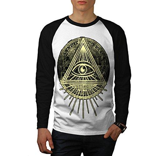 Illuminati-Dreieck-Auge-Prisma-Herren-NEU-Wei-Schwarz-rmel-S-2XL-Baseball-lange-rmel-T-Shirt-Wellcoda