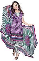 Kimisha Purple Crepe Casual Wear Printed Dress Material