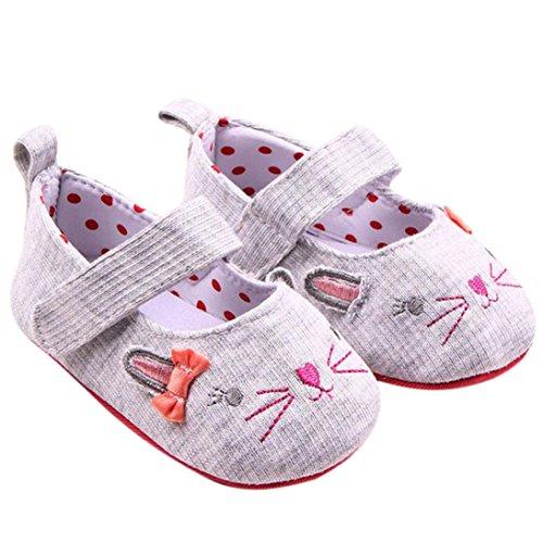 Kingko® Bambino bambini neonate sveglie Solid Bowknot Cat Ears sandali pattini appena nati (0~6 mesi)