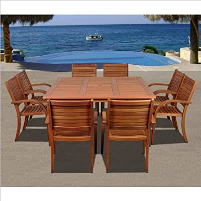 Amazonia Arizona 9-Piece Eucalyptus Square Dining Set SC_426_8CATA from International Home Miami Corp