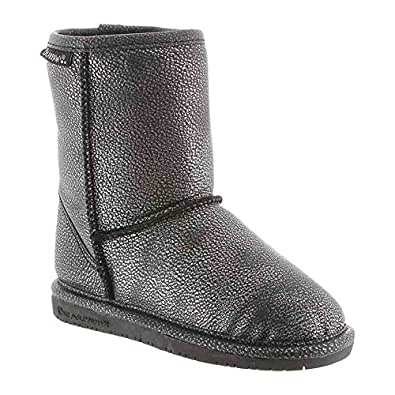 Bearpaw Boots Girls Emma Pull-on Suede Wool 7 Infant Black Silver 608T