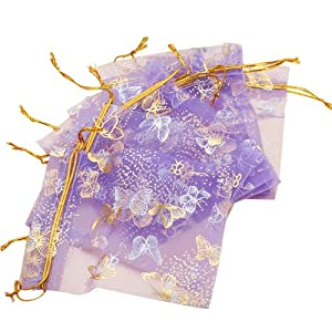 """LuckyStore 100pcs Butterfly Purple Organza Jewelry Pouch Wedding Favor Gift Bags 4.6""""x3.8"""""""