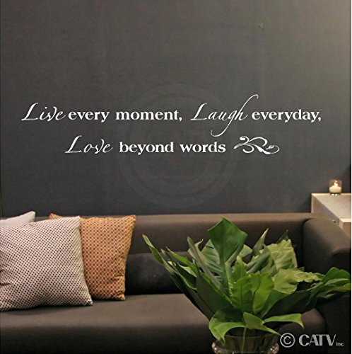 Live Every Moment, Laugh Everyday, Love Beyond Words vinyl lettering wall decal sticker (White, 8x40) (Wall Decals White compare prices)