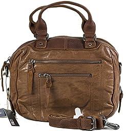 GOOTUCH Leather Travel Shoulder Bag Handbag Briefcase for Men Women (Dark-brown)