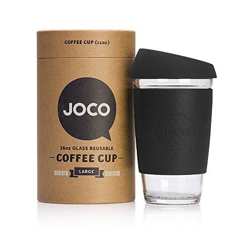JOCO 16oz Glass Reusable Coffee Cup (Black) (Glass Travel Coffee Mug compare prices)