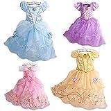 プリンセスなりきり 子供 ドレス キッズ 子ども お姫様 ワンピース  お姫様ドレス 女の子 なりきり キッズドレス シンデレラ/ラプンツェル/ベル/オーロラ姫 (120サイズ, イエロー風)