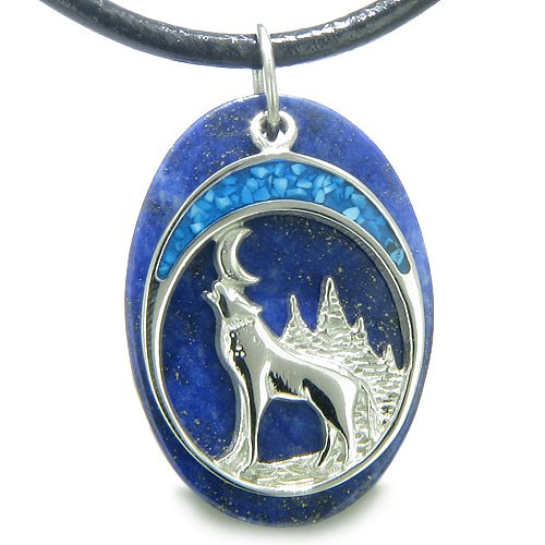 Howling Wolf and Moon Amulet Good Luck Powers