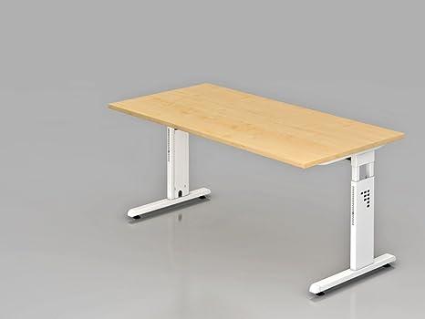 Supporto scrivania C 160x 80cm, bianco/acero