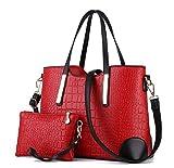 Di Grazia Women's Shoulder Bag With 1 Wrist Clutch (Red,Red-Croc-2In1-Combo)