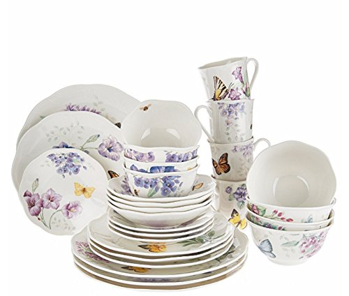 Lenox Lavender Butterfly Meadow Dinnerware Set 28 Piece Service For 4 Porcelain