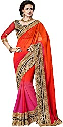 Lizel Fashion Women's Georgette Saree with Blouse Piece