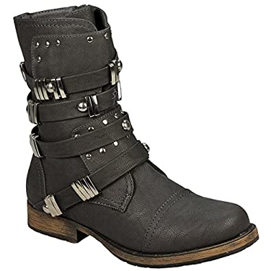 Womens Dolcis Stud Buckle Boots in Grey - UK 3