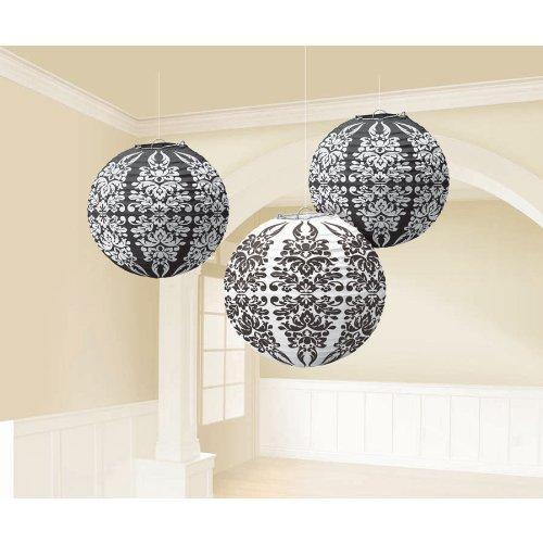 Black Damask Paper Lanterns Party Accessory (3