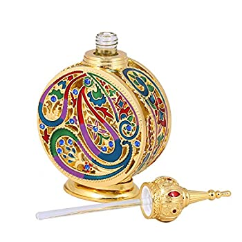 H&D Vintage 18ml Empty Refillable Egyptian Style Enameled Metal and Glass Perfume Bottle
