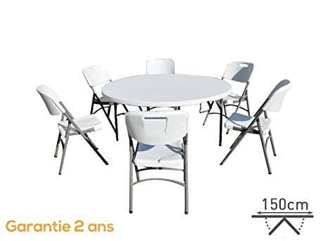 INTEROUGE Ensemble table de jardin plateau pliable et 2 bancs pliants