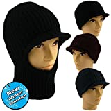 MENS KNITTED BEANIE BALACLAVA HAT WITH PEAK ASSORTED COLOURS