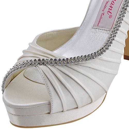 ElegantPark EP11064-IPF Women Peep Toe Platform High Heel D'orsay Pleated Satin Evening Wedding Pumps Ivory US 7