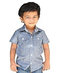 Snowflakes Boys' 3-4 Years Solid Blue Denim Shirt
