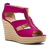 MICHAEL Michael Kors Women's Damita Wedge Fuchsia Sandal 8.5 M