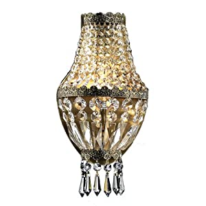 Worldwide+Lighting Worldwide Lighting W23086AB6 Metropolitan 1 Light with Clear Crystal Wall Sconce, Antique Bronze Finish