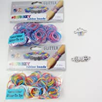 Rubbzy Glitter Limited Edition 2 Packs 100 Tie Dye Rubber Bands + 2 Charms - Cupcake + Peace,love,happiness Loom Set : Image