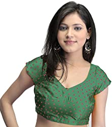 Exotic India Bollywood Printed Bandhej Choli with Dori Back - Color Islamic GreenGarment Size X-Large