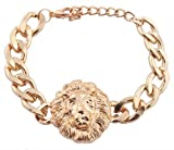Gold Lion Head 9 Inch Link Chain 10mm Adjustable Bracelet