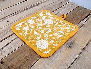 "Pot Holder Indigo Floral Print Kalamkari Indian Ethnic Dark Blue Printed Kitchen Accessory 100% Cotton Size 8""x8"""