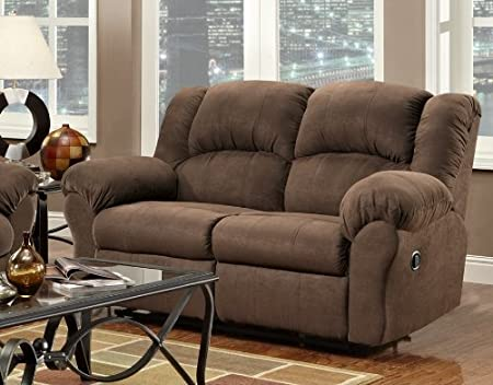 Roundhill Furniture Aruba Microfiber Dual Reclining Loveseat, Chocolate