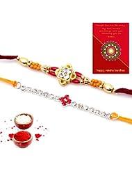 Ethnic Rakhi Designer Floral Pattern Multi-Color Fashionable And Stylish Mauli Thread And Beads Rakhi Set Of 2... - B01IIMC2K2