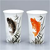 九谷焼 陶器のペア ビールグラス 鯉