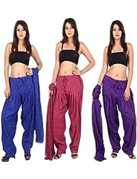 TEEJ New Women's Solid Cotton Punjabi Patiala Salwar With Dupatta Combo Pack Of 03 Pcs