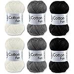 Gründl Cotton Fun Häkelgarn Schulgarn 100% Baumwolle SET 5 Schwarz Weiss Mix 6 Stück 300 Gramm