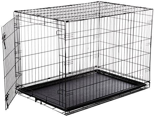 single door folding metal dog crate large cage kennel. Black Bedroom Furniture Sets. Home Design Ideas