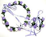 選べる カラー 花冠 ヘッドドレス & 腕輪 ブレスレット 2点 セット  結婚式 や パーティ に (紫)