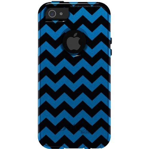 Best Price CUSTOM OtterBox Commuter Series Case for iPhone 5 5S - Chevron Stripes Zig Zag (Black & Blue)