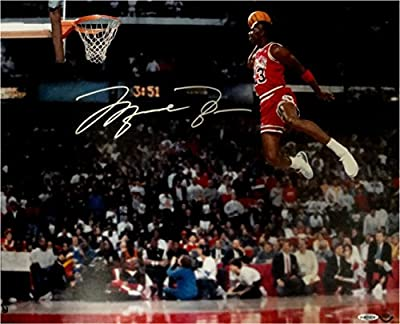 Michael Jordan Hand Signed Autographed 16x20 Photo Slam Dunk Gatorade Bulls UDA