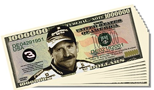 Dale Earnhardt Sr. Novelty Million Dollar Bill - 10 Count with Bonus Clear Protector & Christopher Columbus Bill