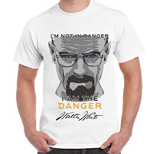 CHEMAGLIETTE! - T-Shirt Maglietta Stampa Breaking Bad Heisenberg I'M The Danger Cotone Uomo, Colore: Bianco, Taglia: M