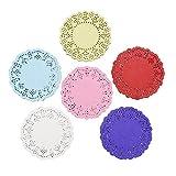 CCINEE ドイリー レースペーパー 3.5inch/8.9cm 丸型(200枚入) 全7色(混合色)