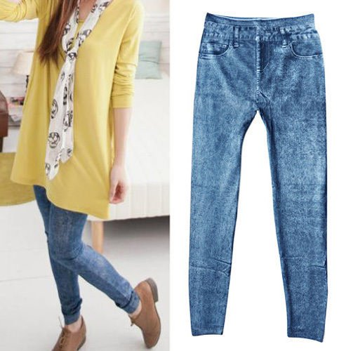 Gleader Women Denim Jeans Skinny sexy Jeggings Leggings Tights Stretch Pantaloni Pantaloni - blu