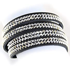Silver Ice Double Strand Crystal On Faux Suede Band Bracelet With Button Clasp