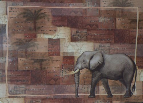 African Safari Elephant Hardboard/Cork Back Placemat