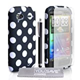 HTC Sensation / Sensation XE Stylish Polka Dot Silicone Gel Patterned Case Cover With Stylus Pen And Screen Protector Film Black White Spotsby Yousave Accessories