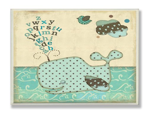 The Kids Room by Stupell Polka Dot Blue Whale with Alphabet Rectangle Wall Plaque