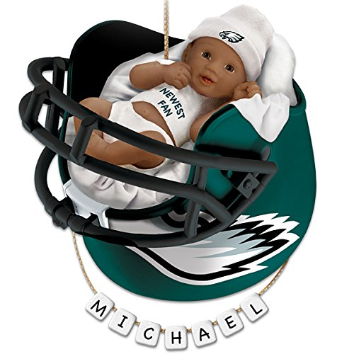 NFL Philadelphia Eagles Personalized African-American Baby Christmas Ornament by The Bradford Exchange