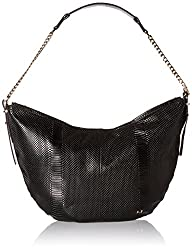 Halston Heritage Leather Hobo, Black, One Size